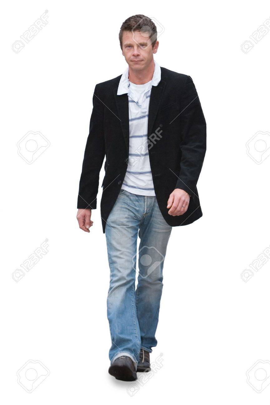 Man in jeans walking isolated on white - 3420273