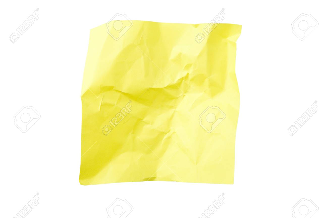 Yellow crushed sticky note isolated on white background with clipping path Stock Photo - 8667026