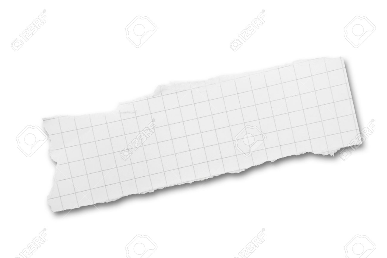 Torn piece of squared paper isolated on white background with shadow Stock Photo - 8736766