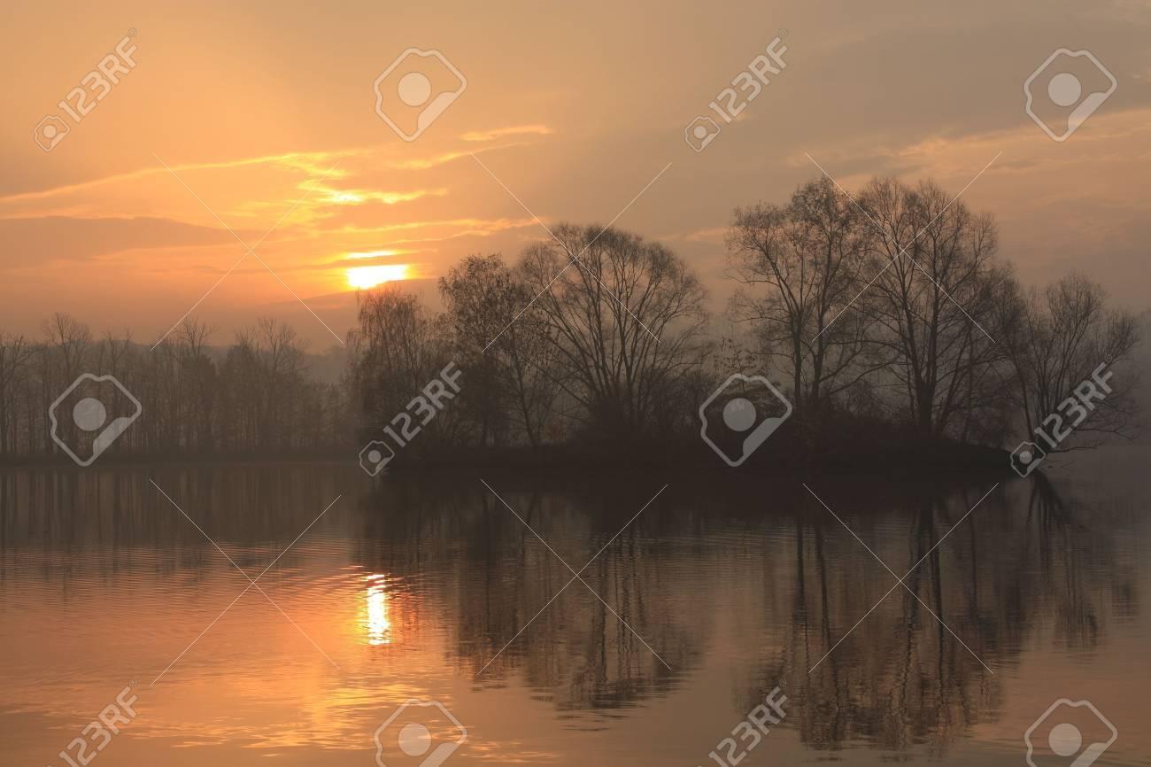 sunrise fish pond Stock Photo - 4314257