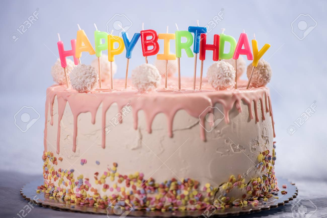 Birthday Pink Cake Dessert Party Celebration Coconut Balls Kid Child Baloon Chocolate