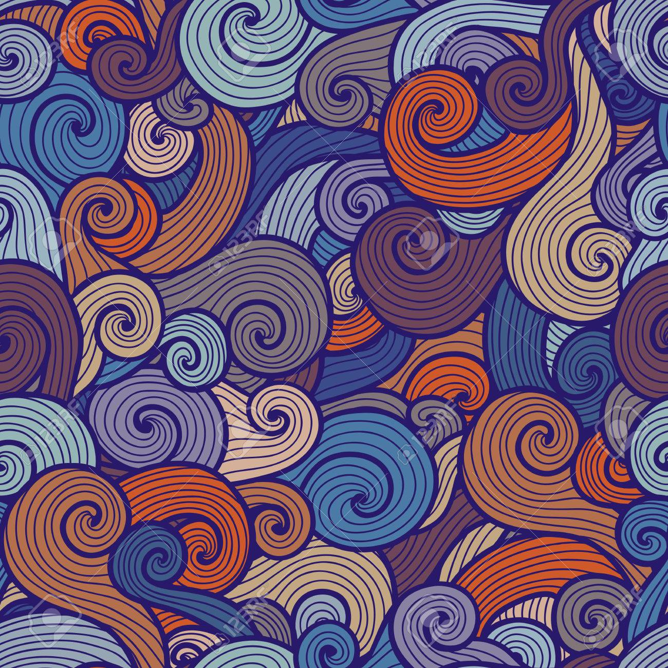 seamless curly pattern with spiral waves of different colors royalty free cliparts vectors and stock illustration image 34910726 seamless curly pattern with spiral waves of different colors