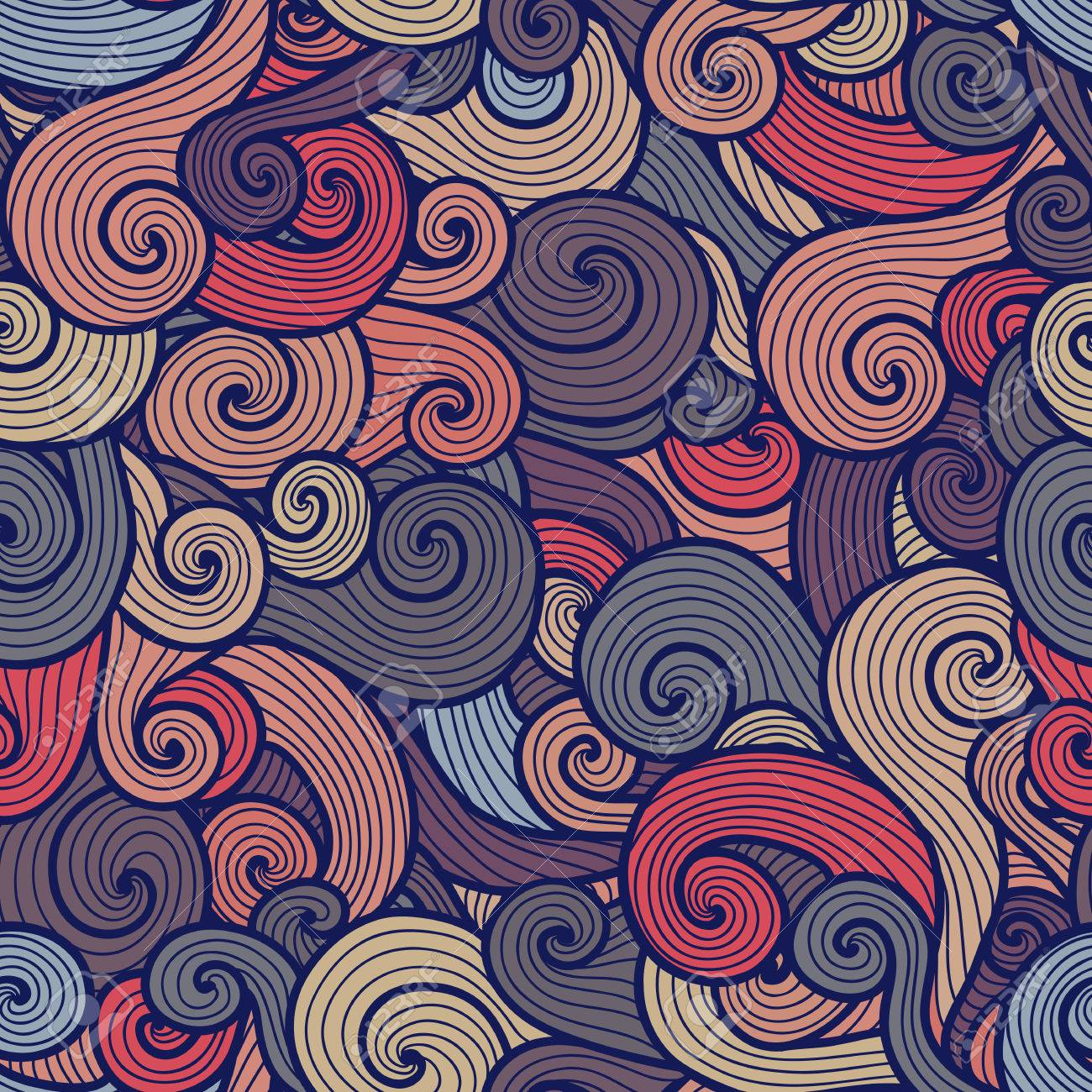 seamless curly pattern with spiral waves of different colors royalty free cliparts vectors and stock illustration image 34910727 seamless curly pattern with spiral waves of different colors