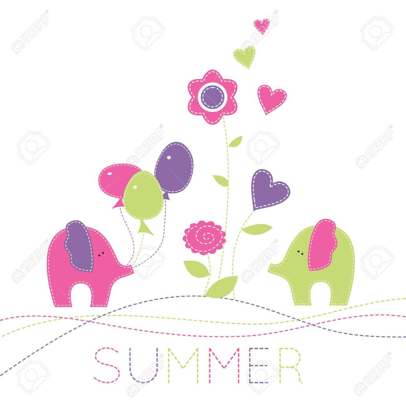 Bebé Dos Enamorados Elefantes Con Globos De Colores Y Flores De ...