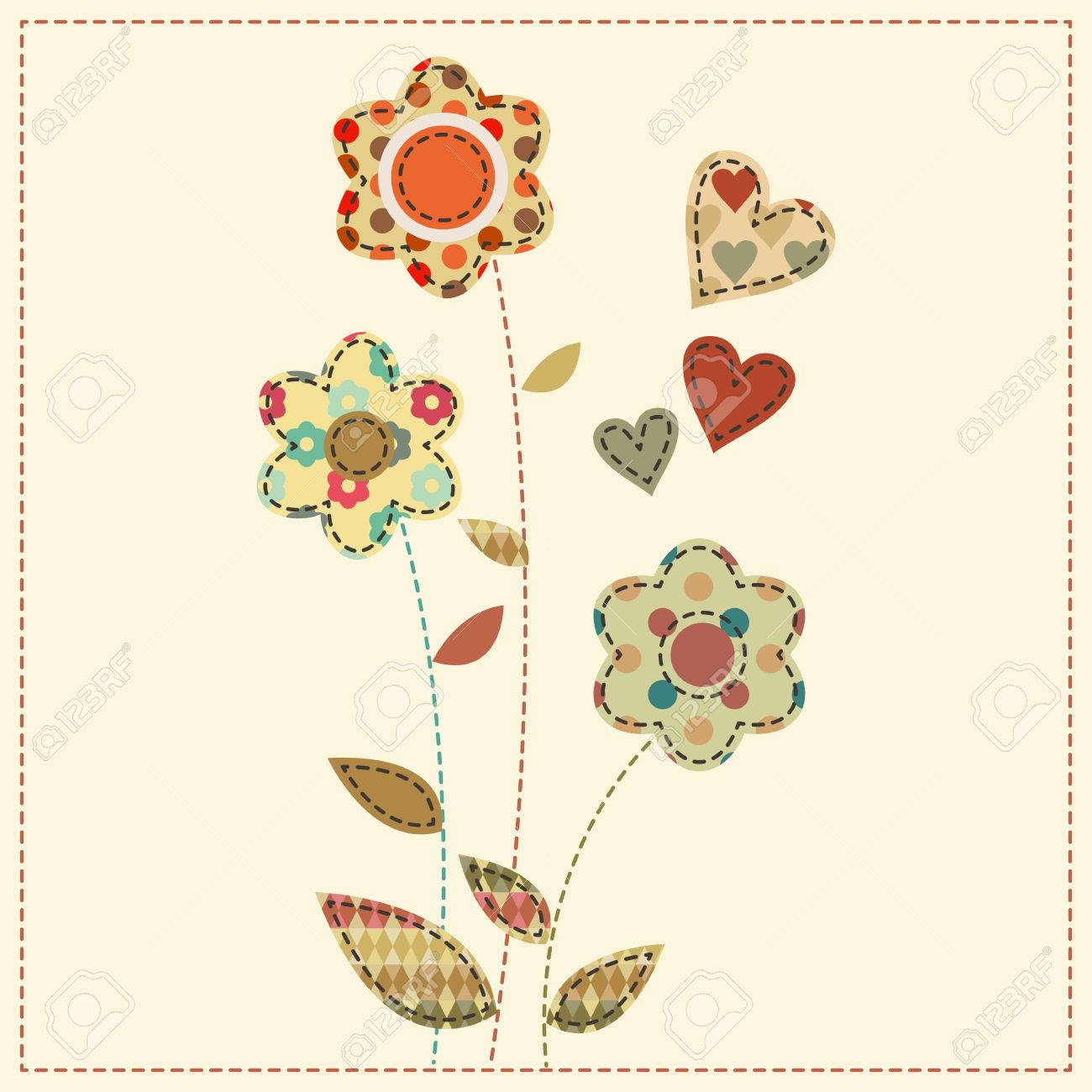 Flower bouquet decorated by hearts cute cartoon vector illustration flower bouquet decorated by hearts cute cartoon vector illustration in a patchwork style with dark izmirmasajfo