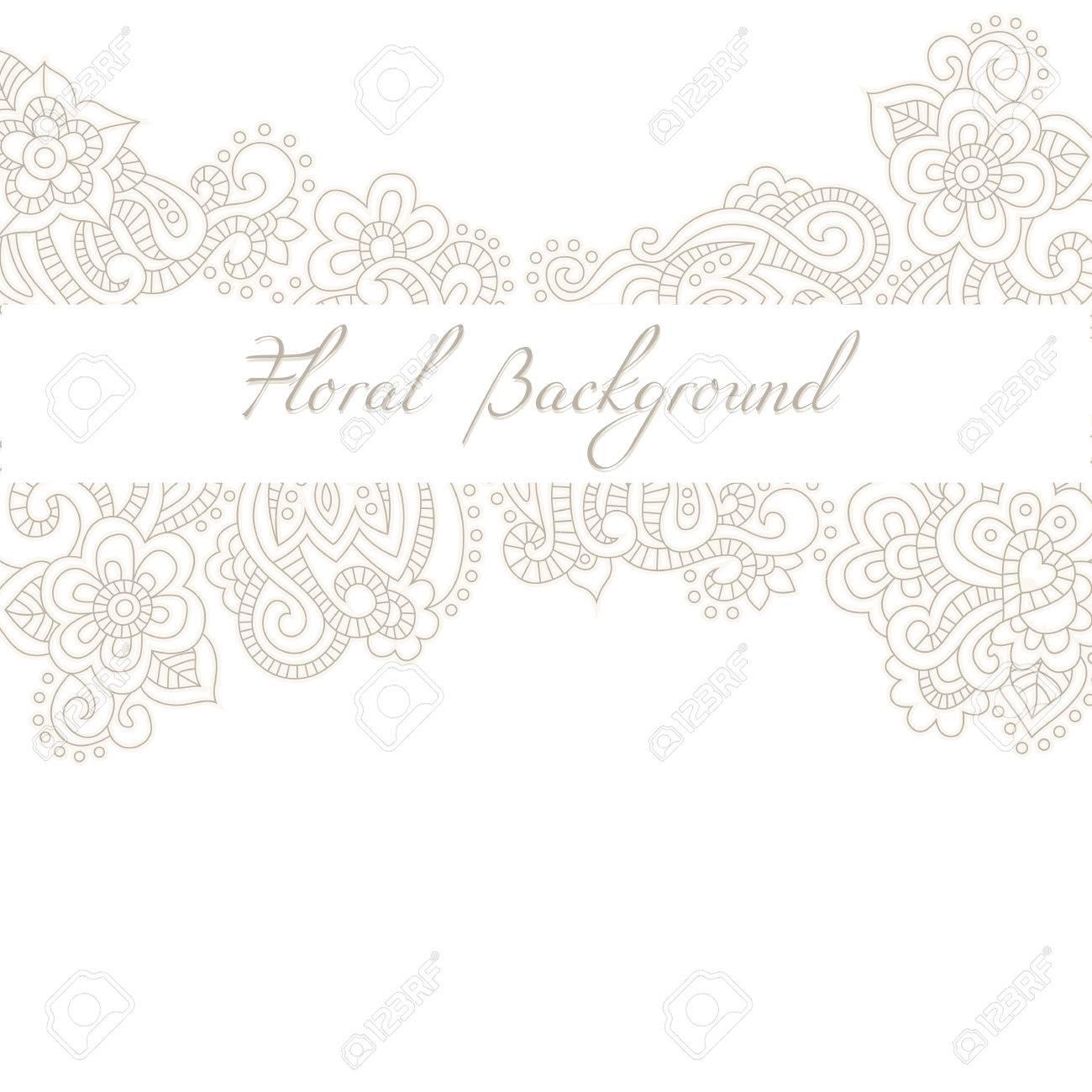 Boda Invitación O El Modelo Tarjeta De Aniversario Con El Fondo Floral Romántica Y Texto De Ejemplo Tintes Pastel Sutiles Y Ornamento Lineal