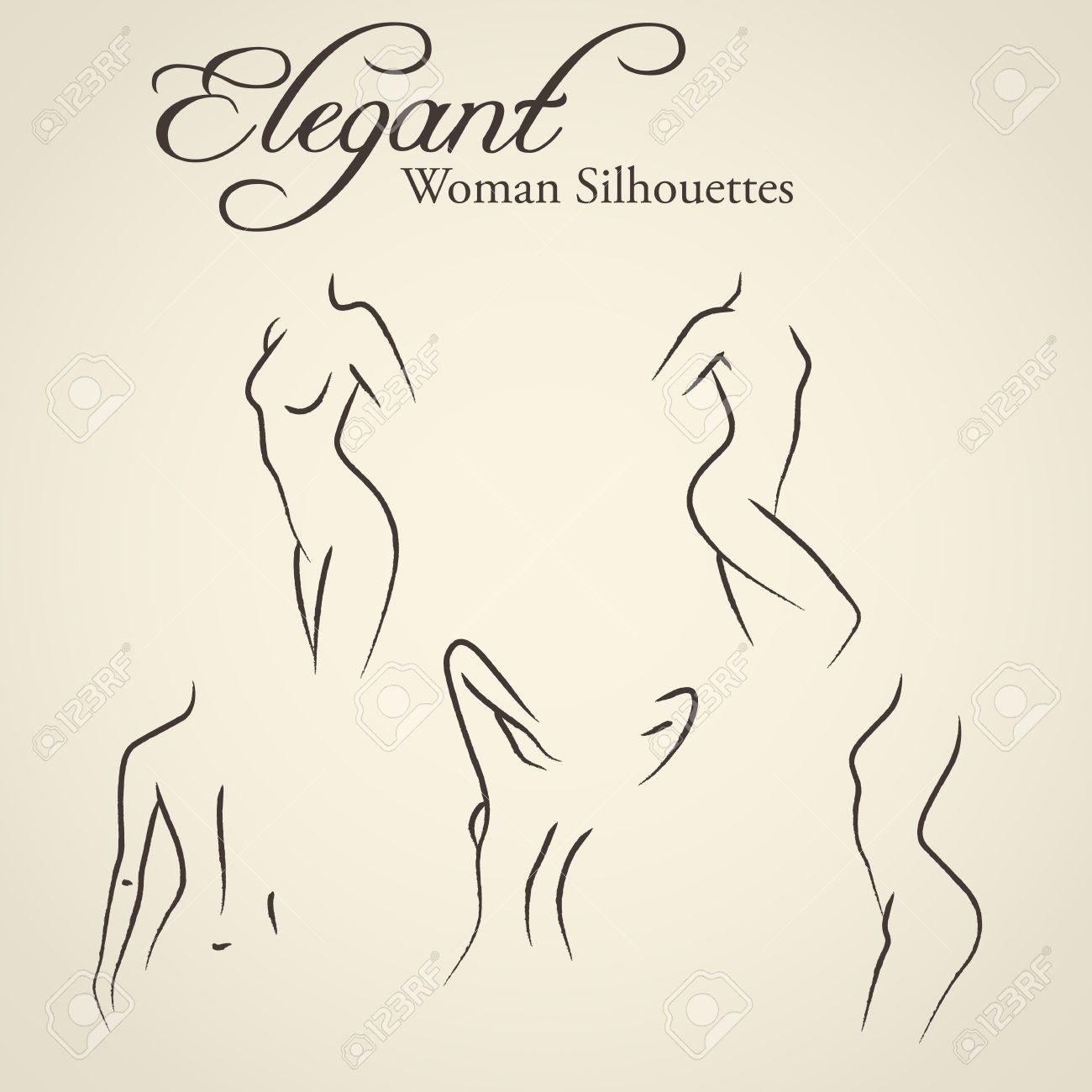 Femme Dessin Corps ensemble de womans élégantes silhouettes dans un style dessin