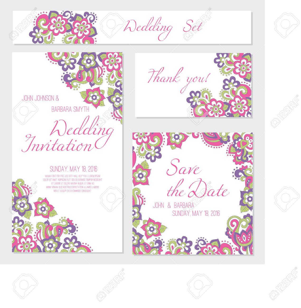 Set Of Wedding Card Templates invitation Thank You Card Save