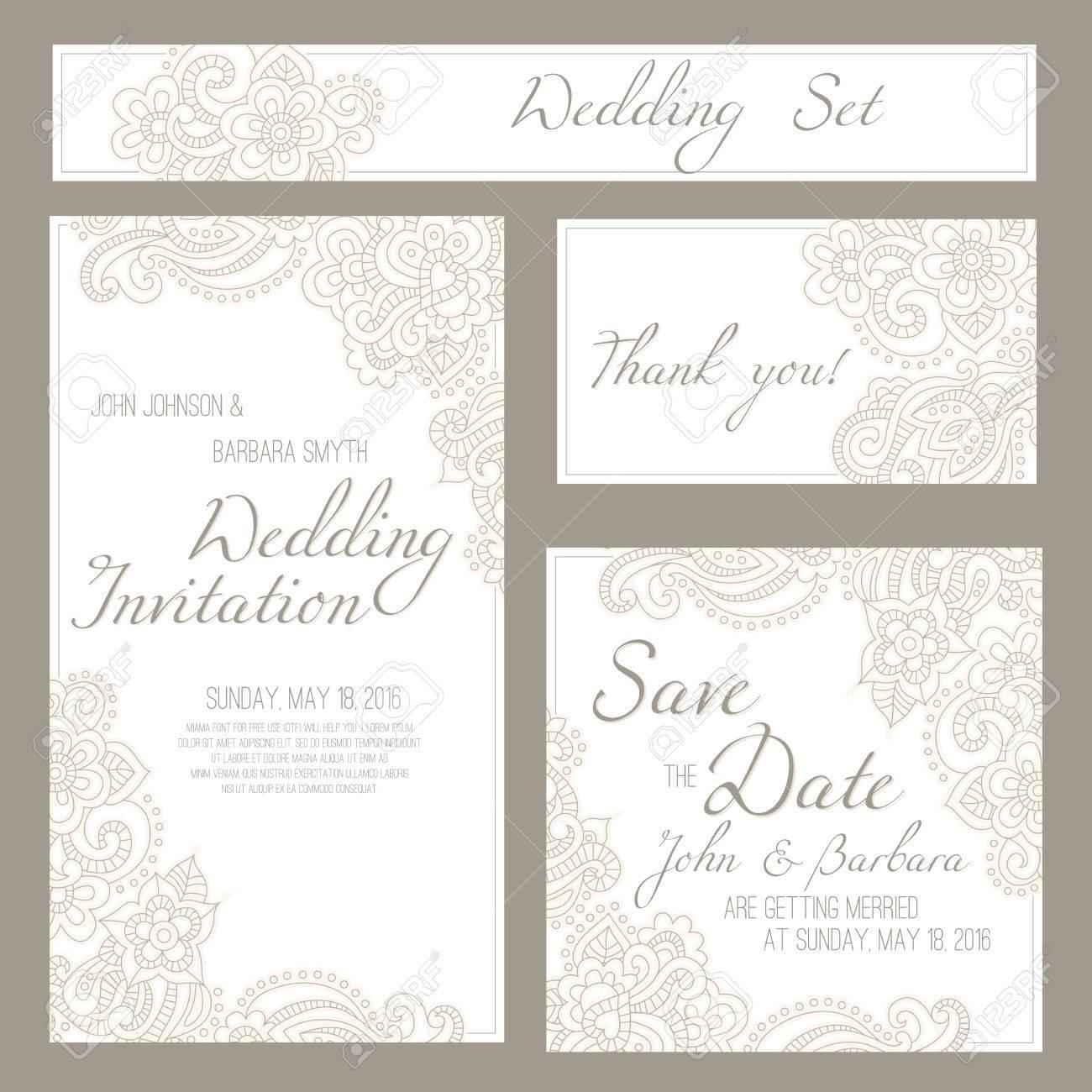 Conjunto De Tarjetas De Boda Invitación O Aniversario Con Fondo Romántico Floral Y Texto De Ejemplo Tonos Pastel Sutil Y Elegante Ornamento Lineal