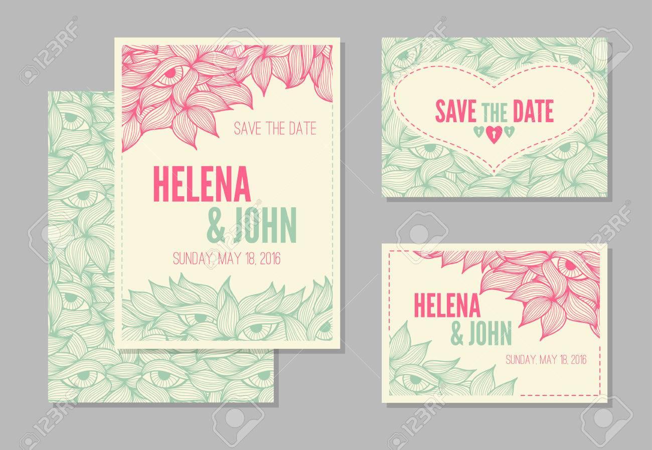 Set Hochzeitskarten Vorlagen Save The Date Rsvp Mit