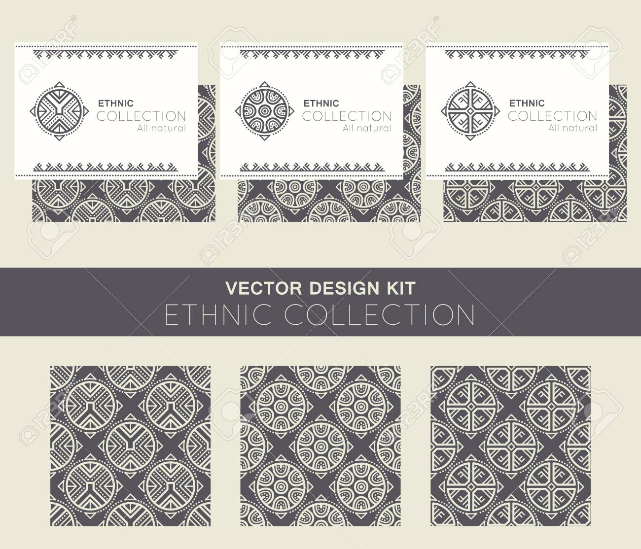 Vector Design Kit With Business Card Templates And Seamless Patterns ...