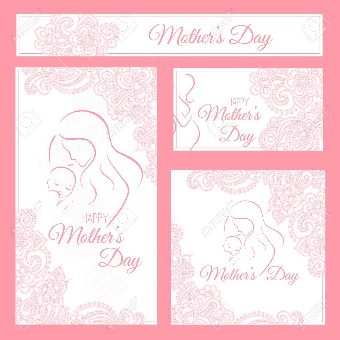 Día De La Madre Plantilla Elegante De La Tarjeta Con La Silueta Contorneada De La Madre Y Del Niño Y El Ornamento Floral Plantilla De Diseño