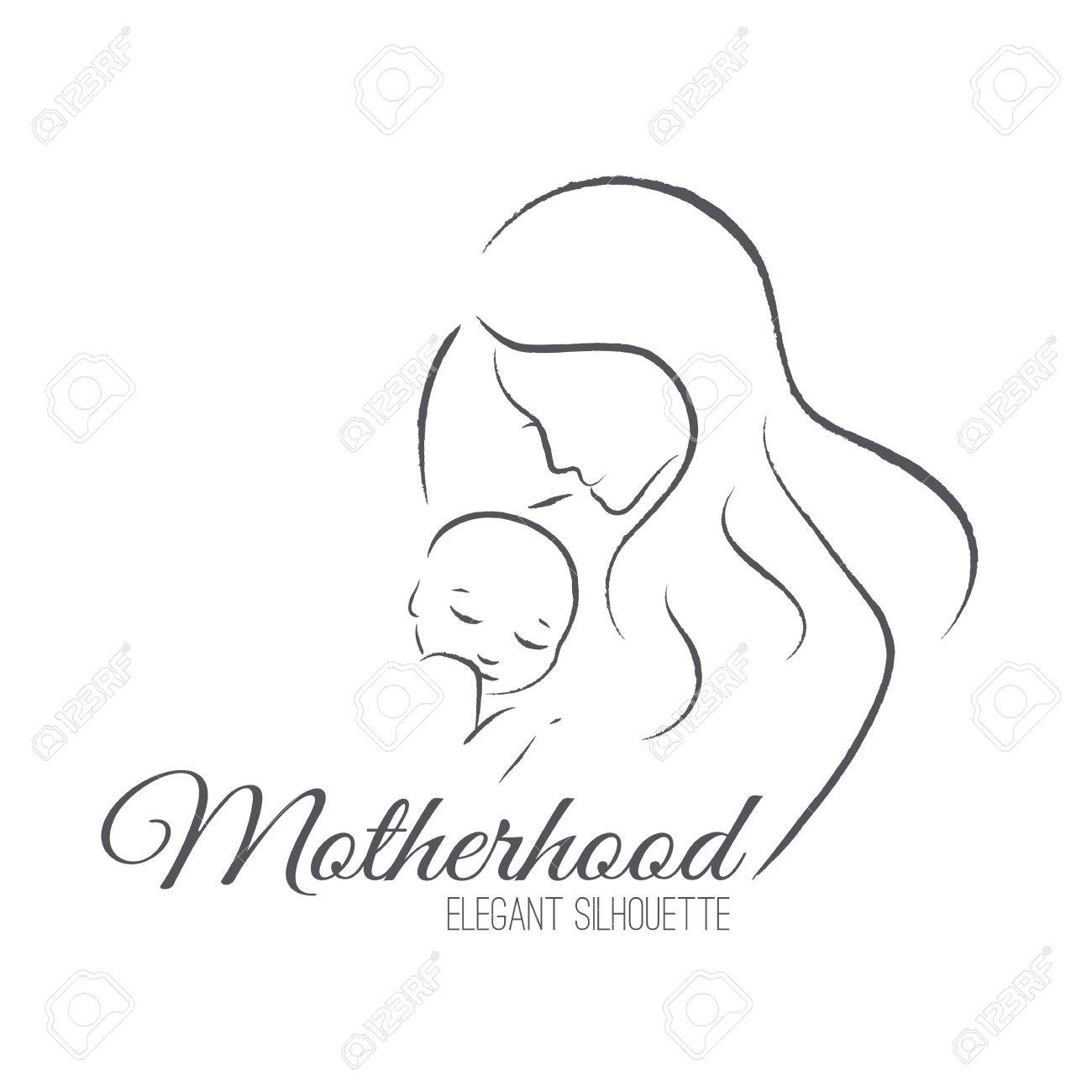 Elegant mother and newborn baby silhouettes in a linear sketch style motherhood mothers day