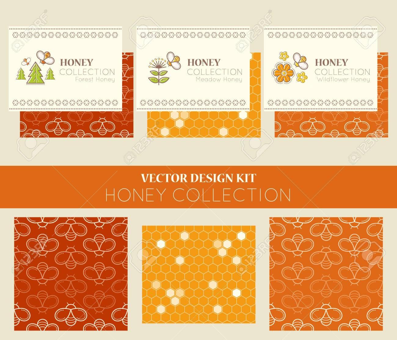 Vector Conception Kit Avec Des Modeles De Cartes Visite Et Les Sans Couture Collection Naturelle Miel Types