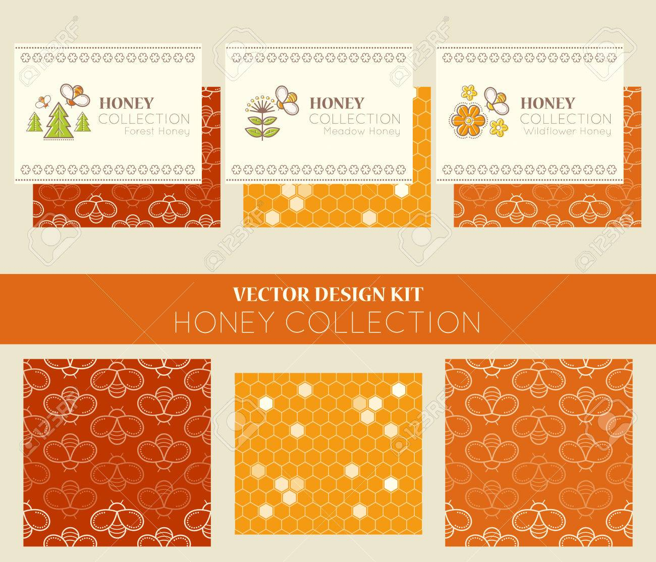 Vector design kit with business card templates and seamless patterns vector vector design kit with business card templates and seamless patterns natural honey collection types of honey forest honey meadow honey colourmoves
