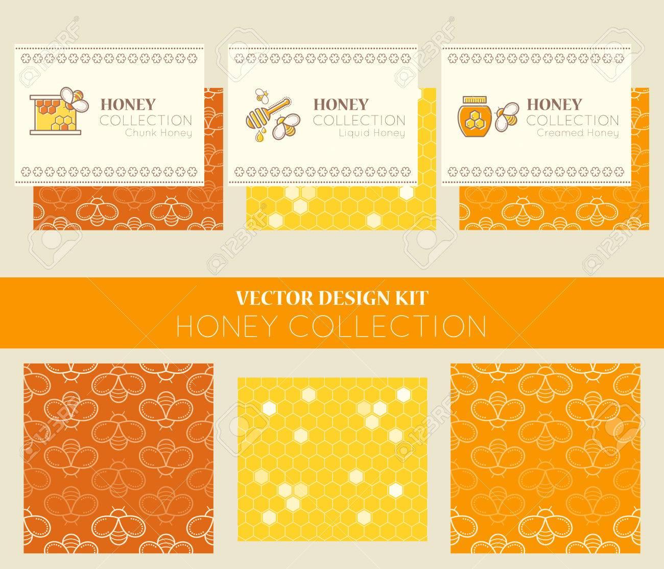 Vector Conception Kit Avec Des Modeles De Cartes Visite Et Les Sans Couture La Recolte Du Miel Naturel Types