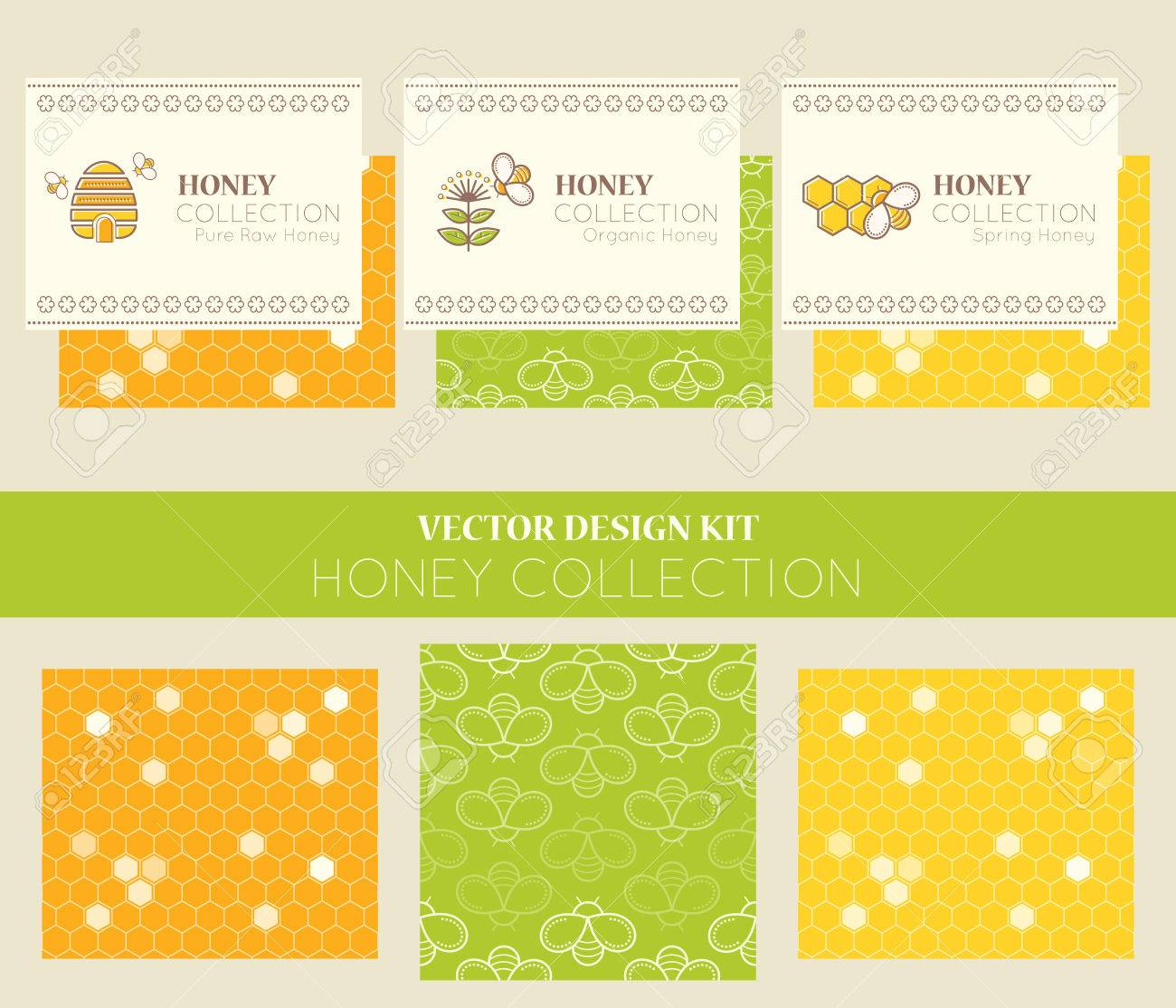 Vector design kit with business card templates and seamless patterns vector vector design kit with business card templates and seamless patterns natural honey collection types of honey pure raw honey organic honey colourmoves