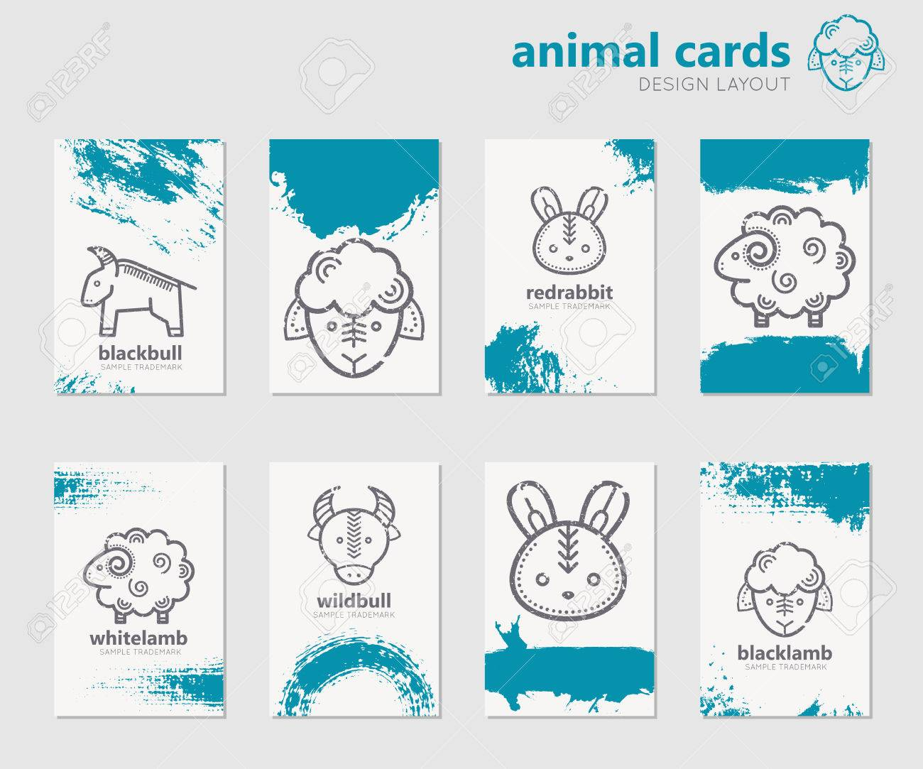 Set of universal cards with linear farm animals and artistic