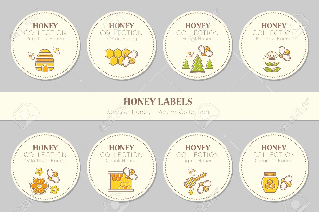 Vector Label Or Sticker Template With Honey Emblems Natural