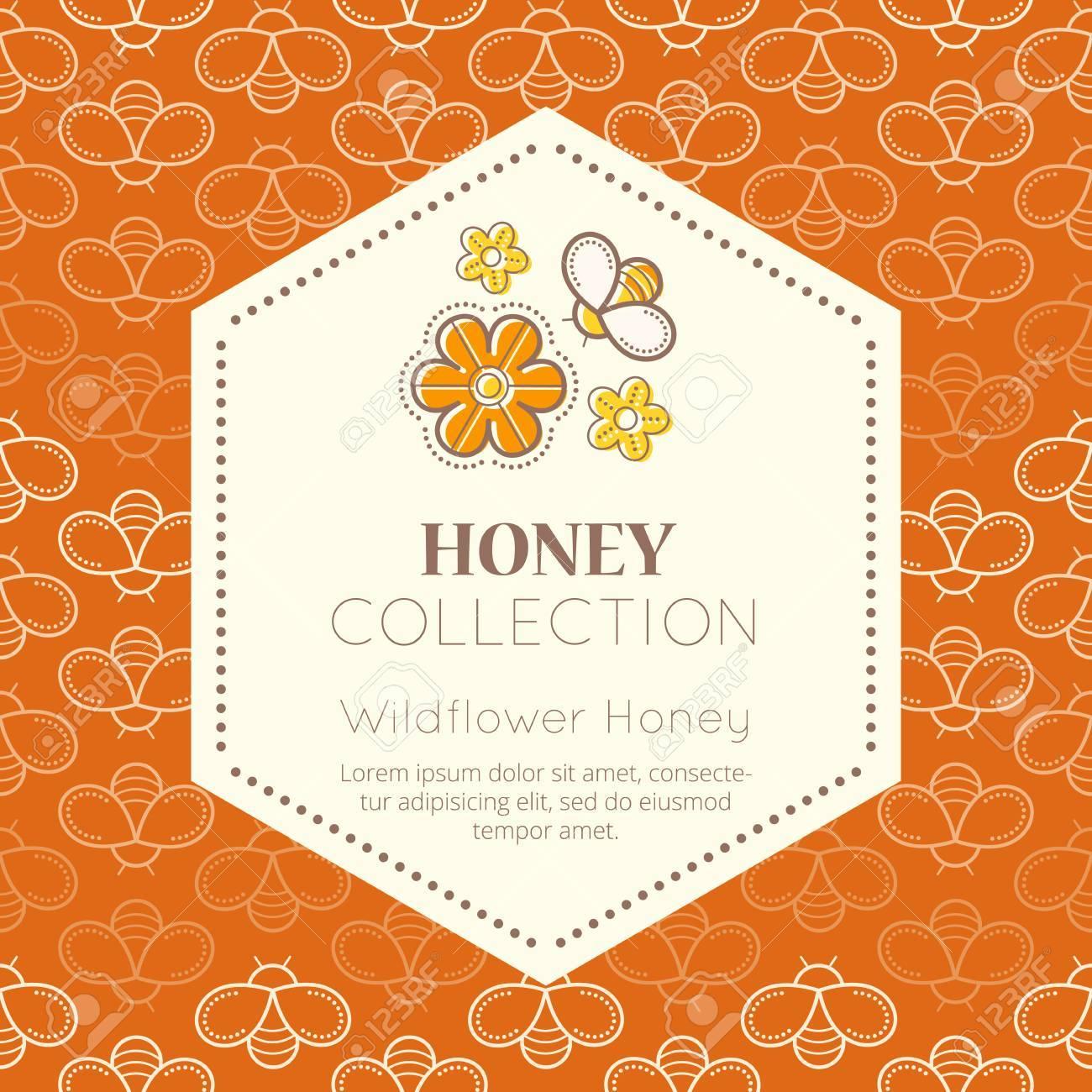 Vector Verpackung Vorlage Mit Nahtlose Muster. Natürlicher Honig ...