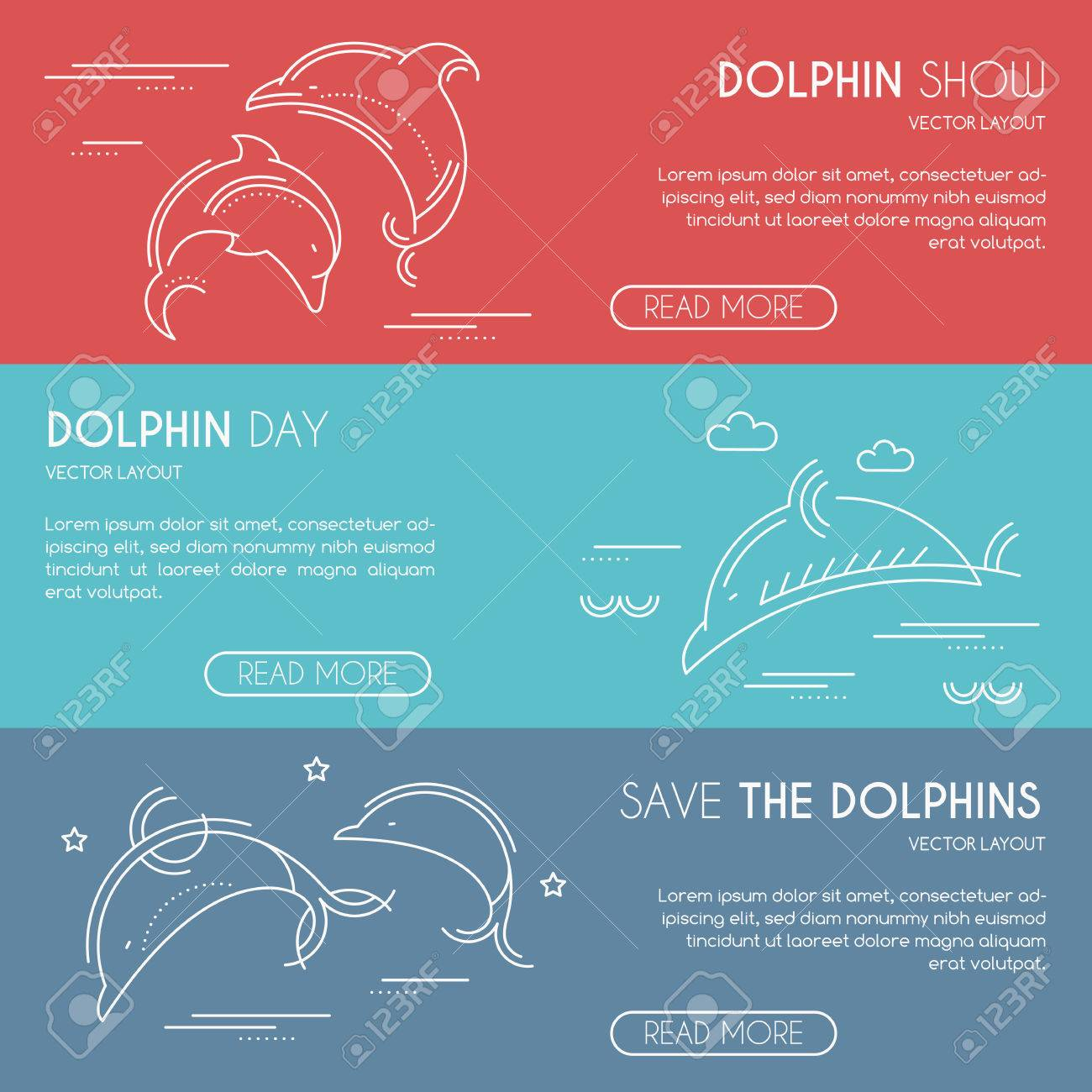 sea dolphin company banner design template with thin line style illustration and sample text