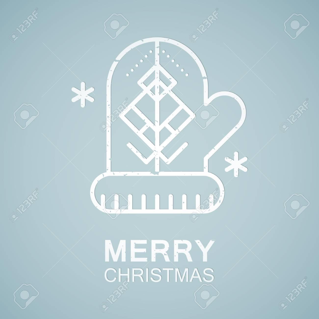 Emblema Estilo De Línea Con El árbol De Navidad Estilizada ...