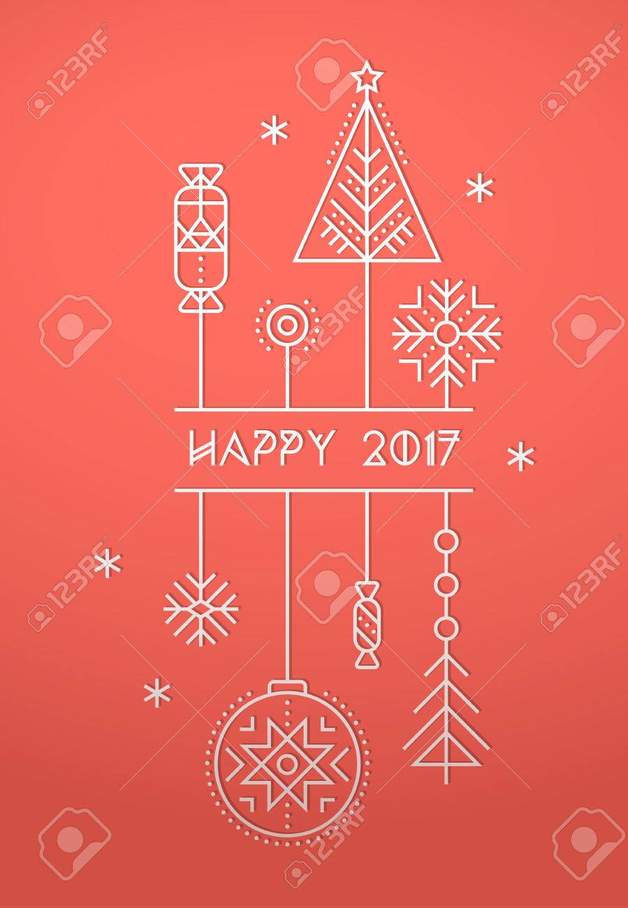 happy new year greeting card template with stylized christmas