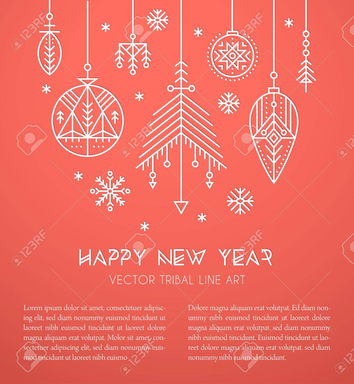 new year greeting card template with hanging decorations and snowflakes creative tribal line style design