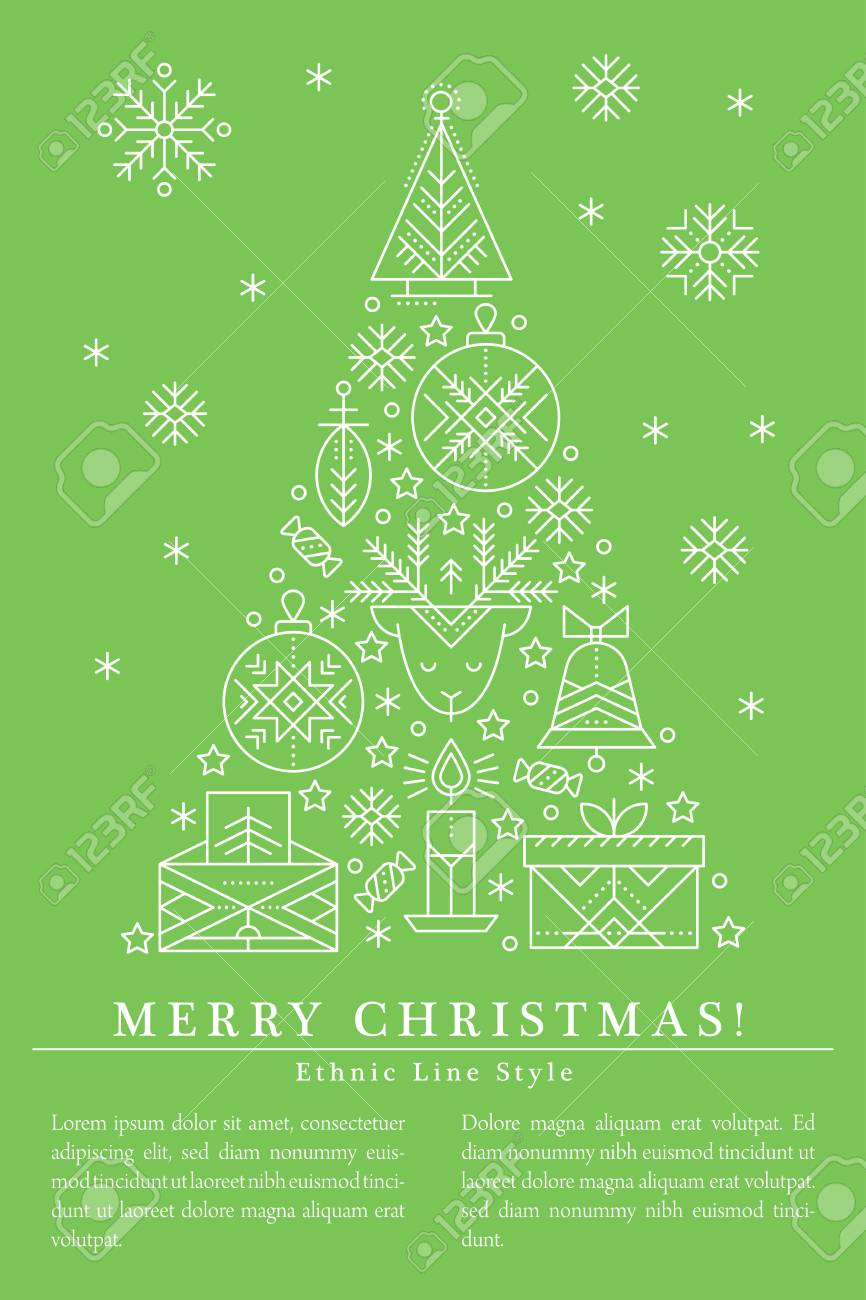 Christmas Greeting Card Template With Outlined Signs Forming ...