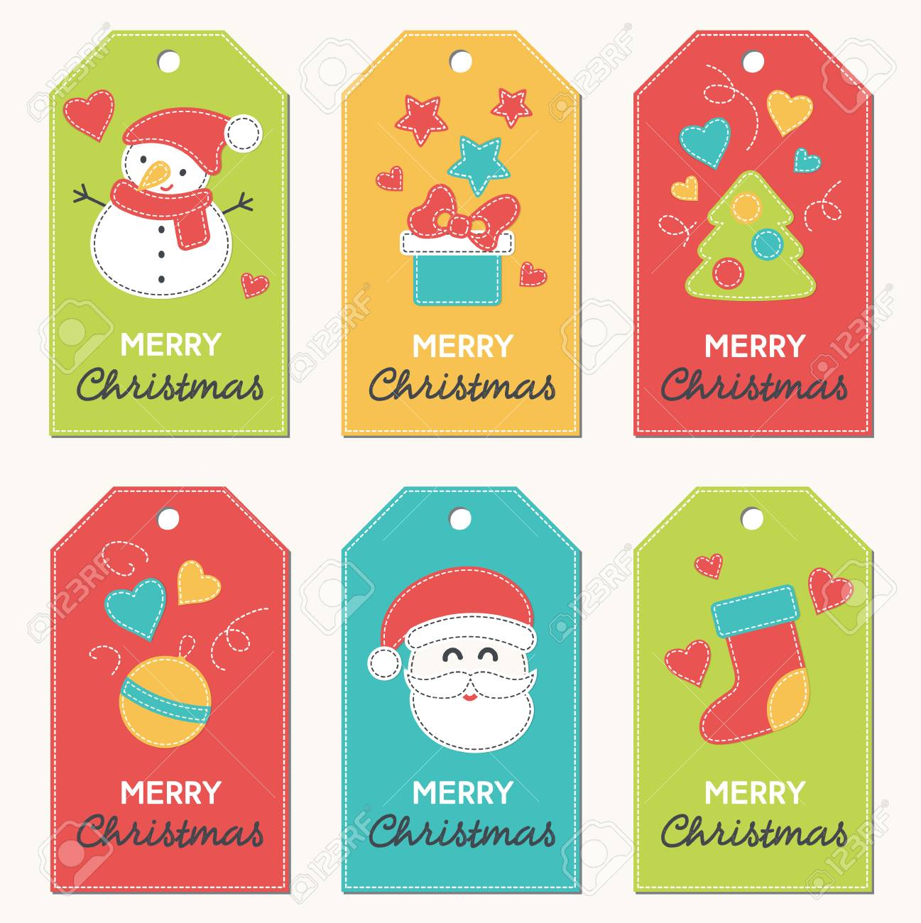 Collection Of New Year And Christmas Gift Tags. Card Templates ...