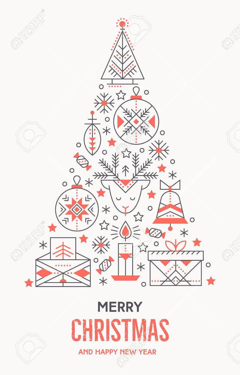 Christmas Greeting Card Template With Outlined Signs Forming