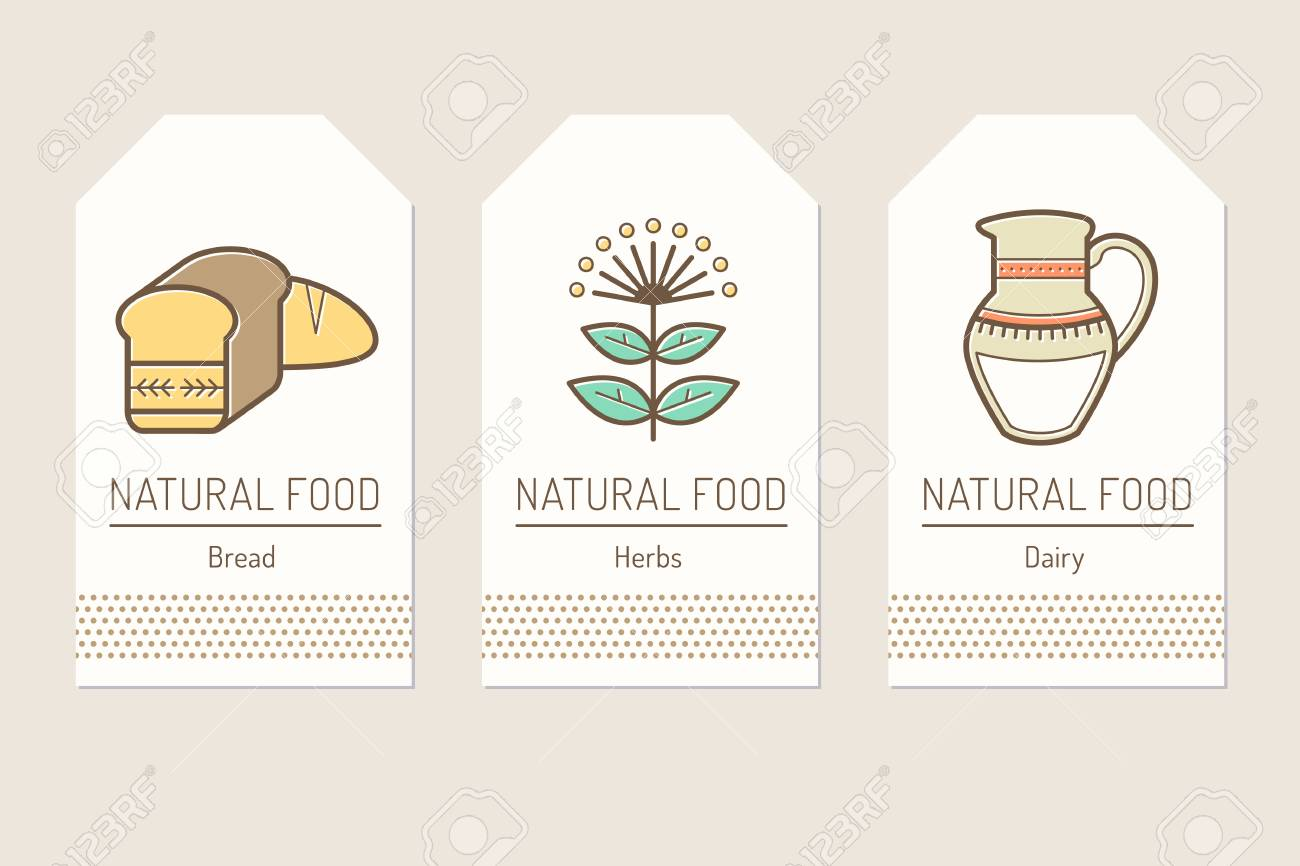 set of card templates with outlined natural food signs royalty free