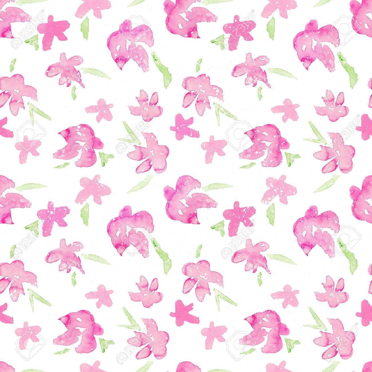 Romantic Pink Floral Seamless Pattern Watercolor Fragile Flowers