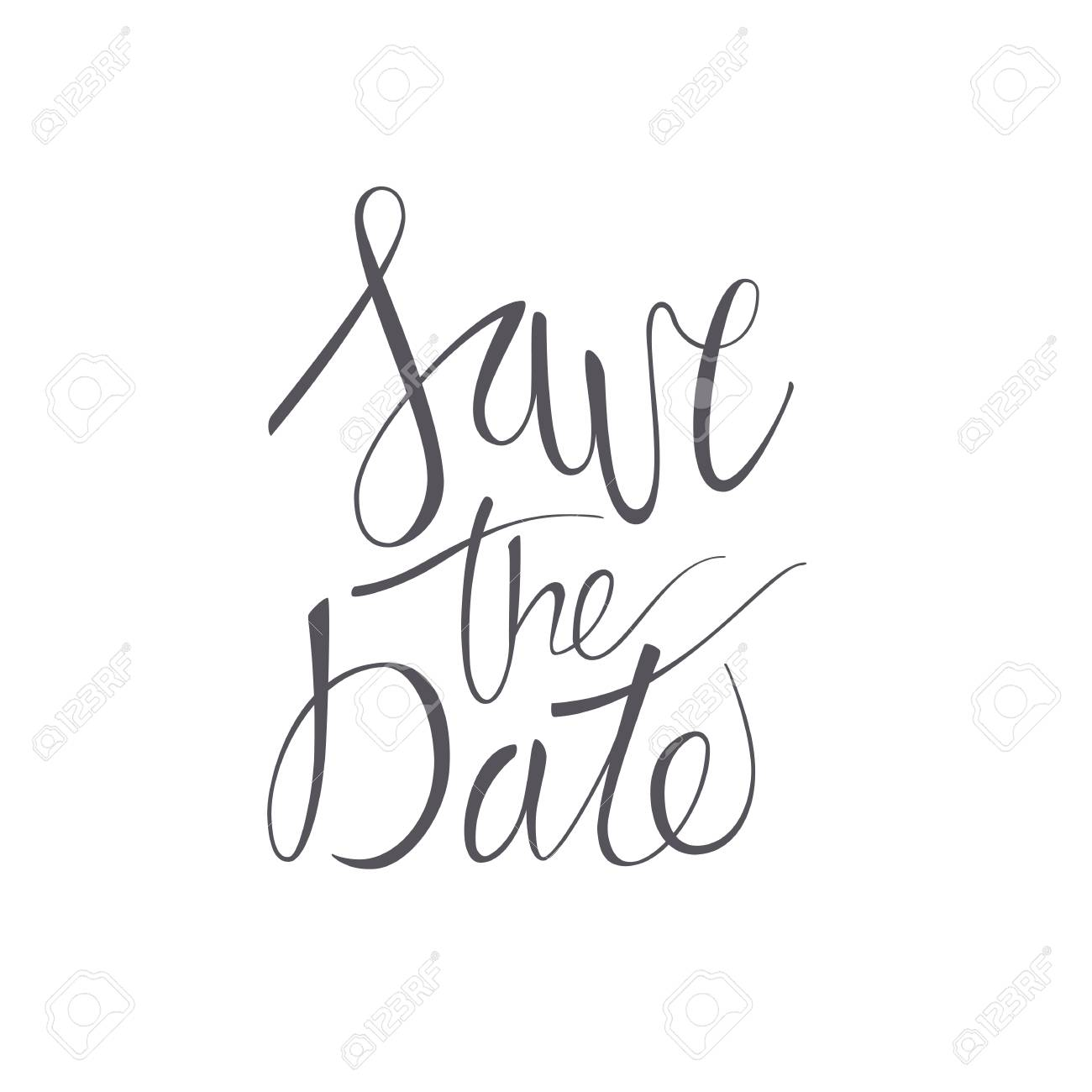 save the date vector lettering text on white background hand written decorative design words