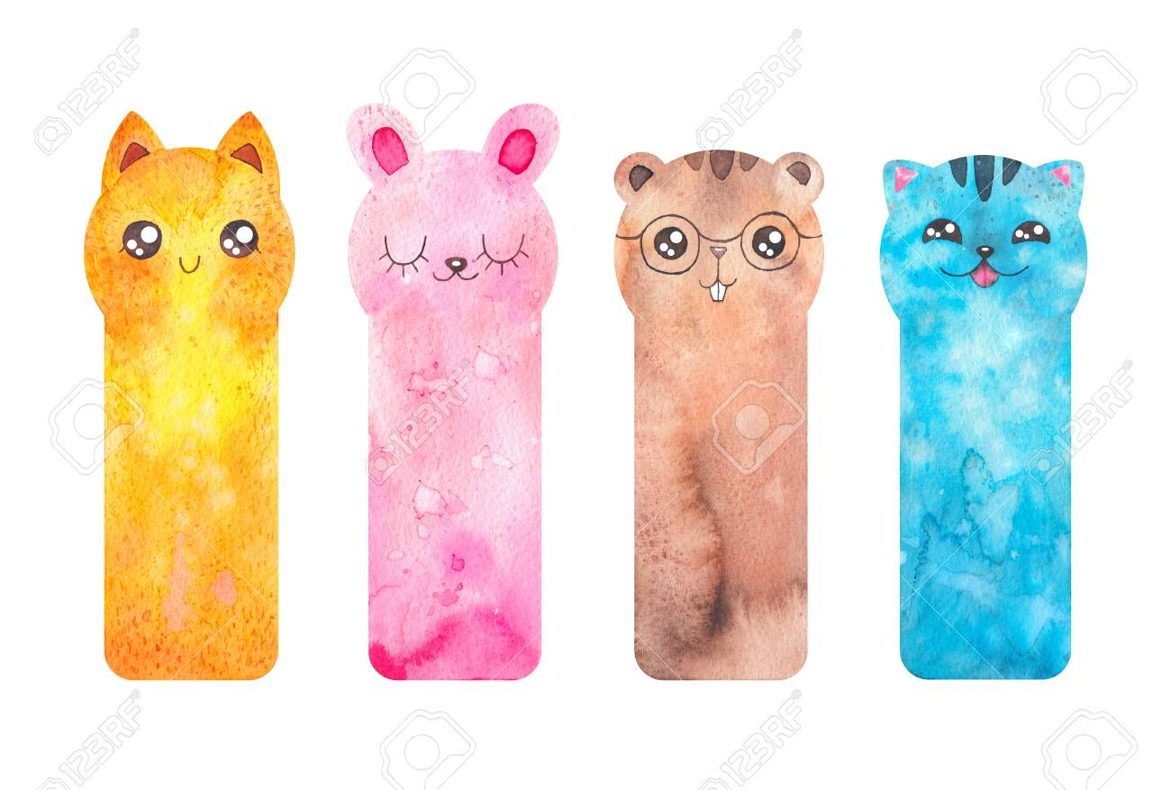 picture regarding Cute Bookmarks Printable identify Printable bookmarks with lovable cartoon pets - fox, cat, rabbir,..