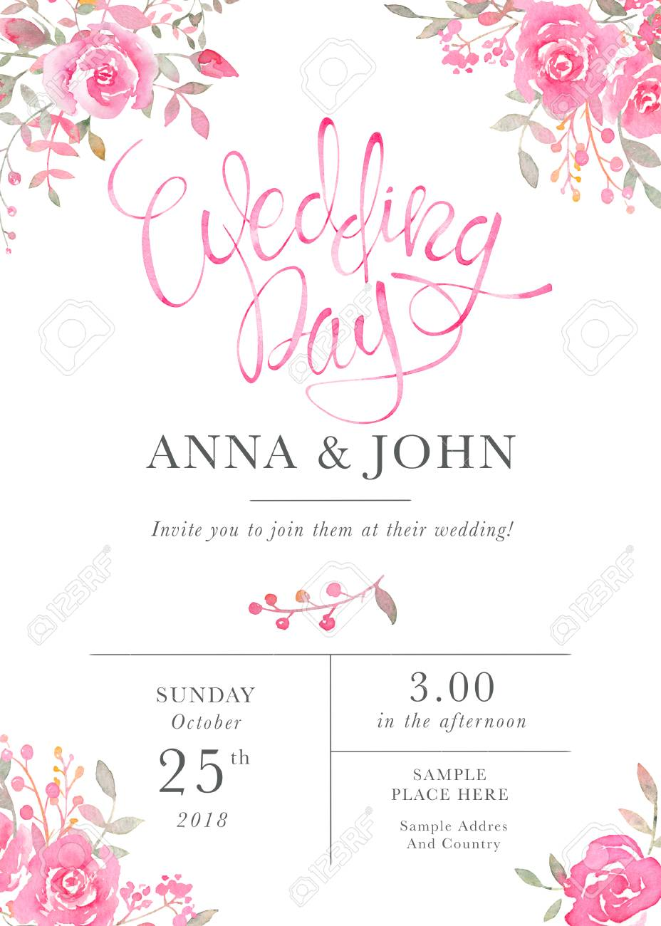 Stock Photo Wedding Invitation Card Template With Watercolor Rose Flowers Elegant Romantic Postcard Layout Pink Roses And Message For: Wedding Invitations With Flowers At Websimilar.org