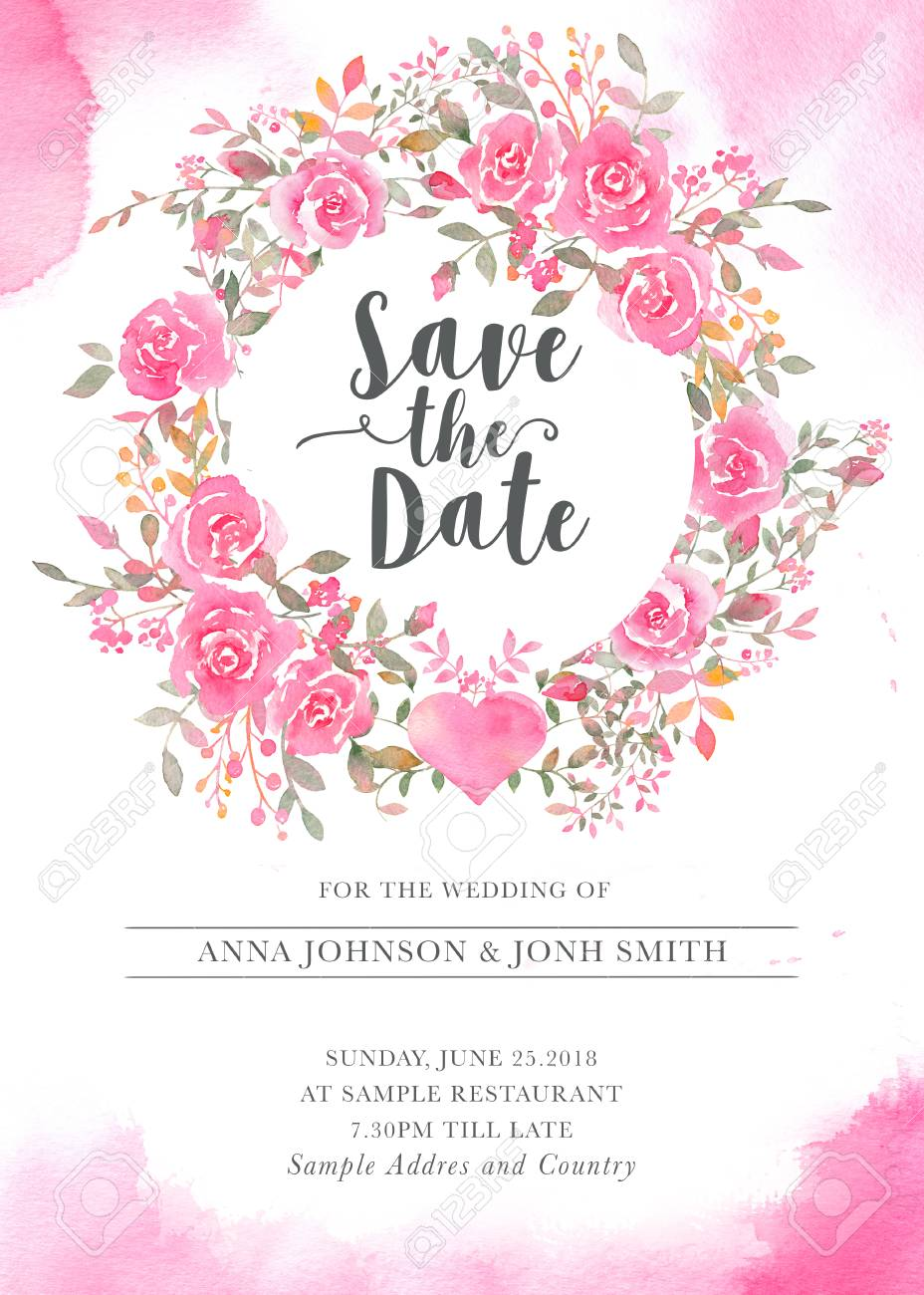 Wedding Invitation Card Template With Watercolor Rose Flowers