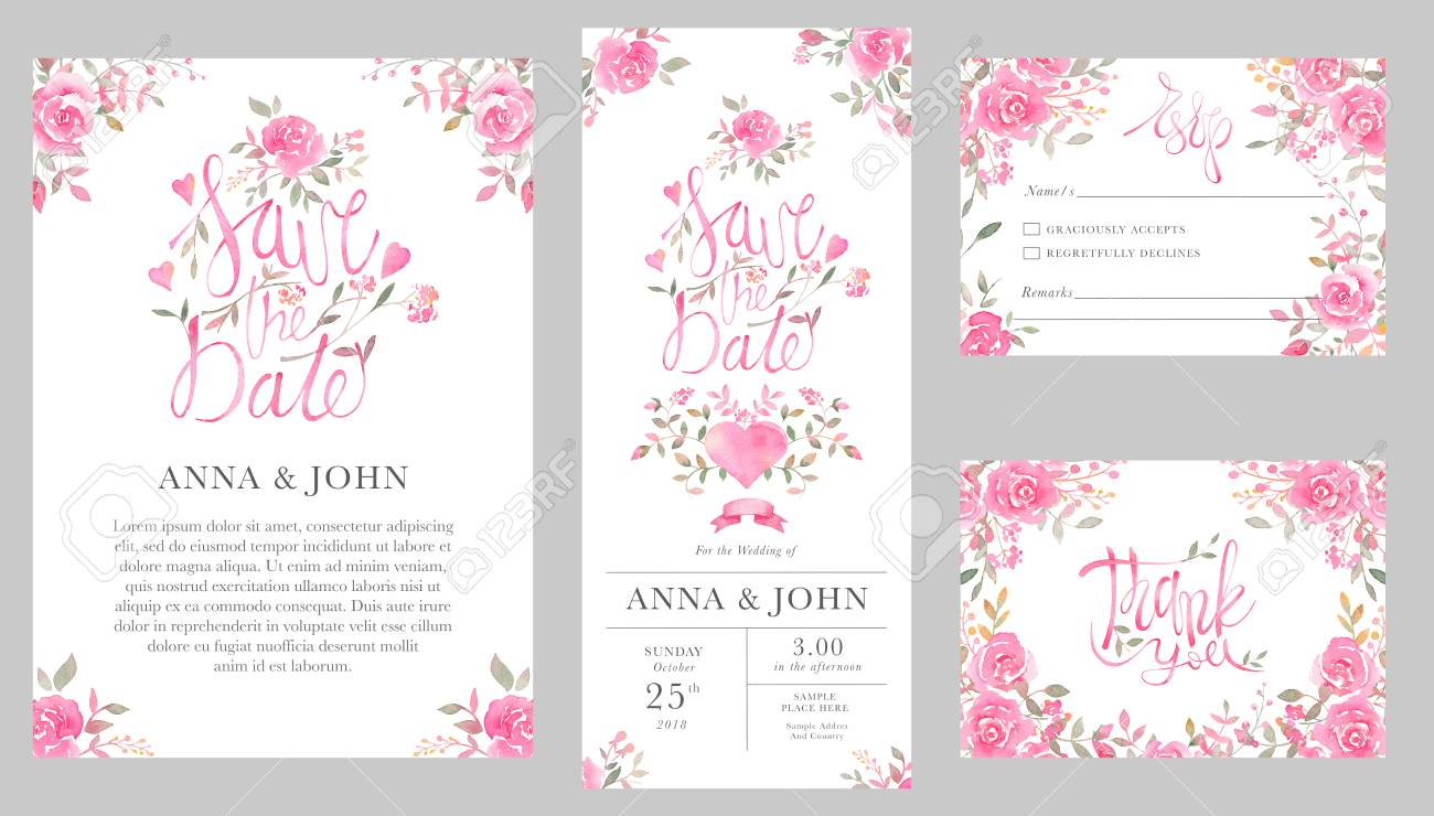 Set Of Wedding Invitation Card Templates With Watercolor Rose.. Stock  Photo, Picture And Royalty Free Image. Image 101726752.