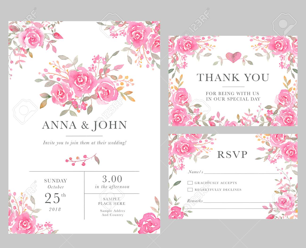 Wedding Invition Cards.Set Of Wedding Invitation Card Templates With Watercolor Rose