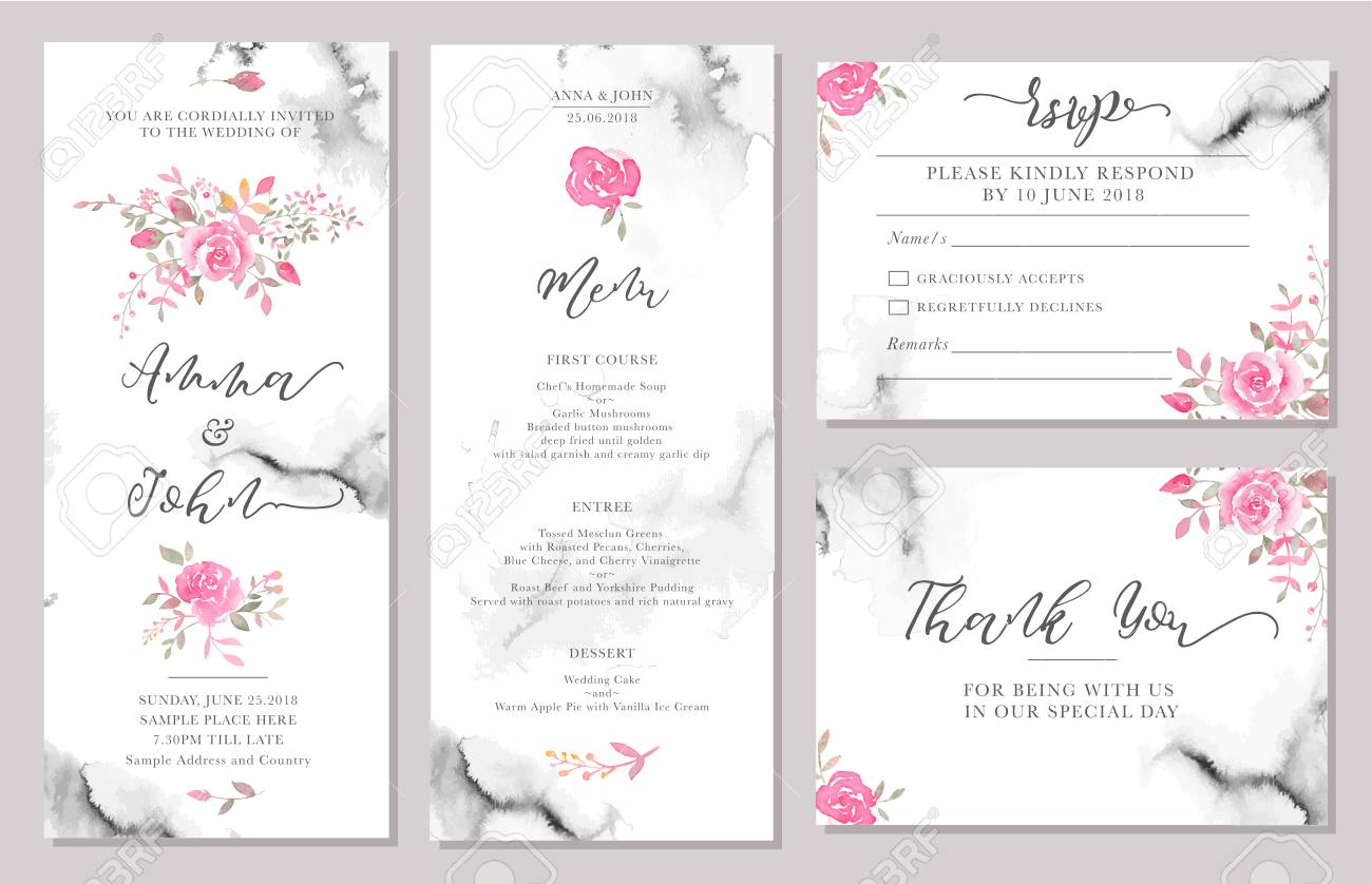 Set Of Wedding Invitation Card Templates With Watercolor Rose Flowers Elegant Romantic Layout Pink