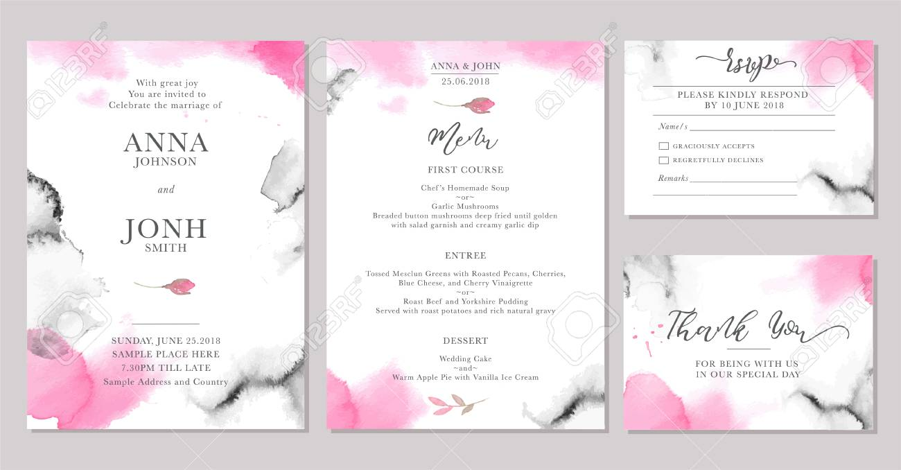 Set Of Wedding Invitation Card Templates With Watercolor Rose