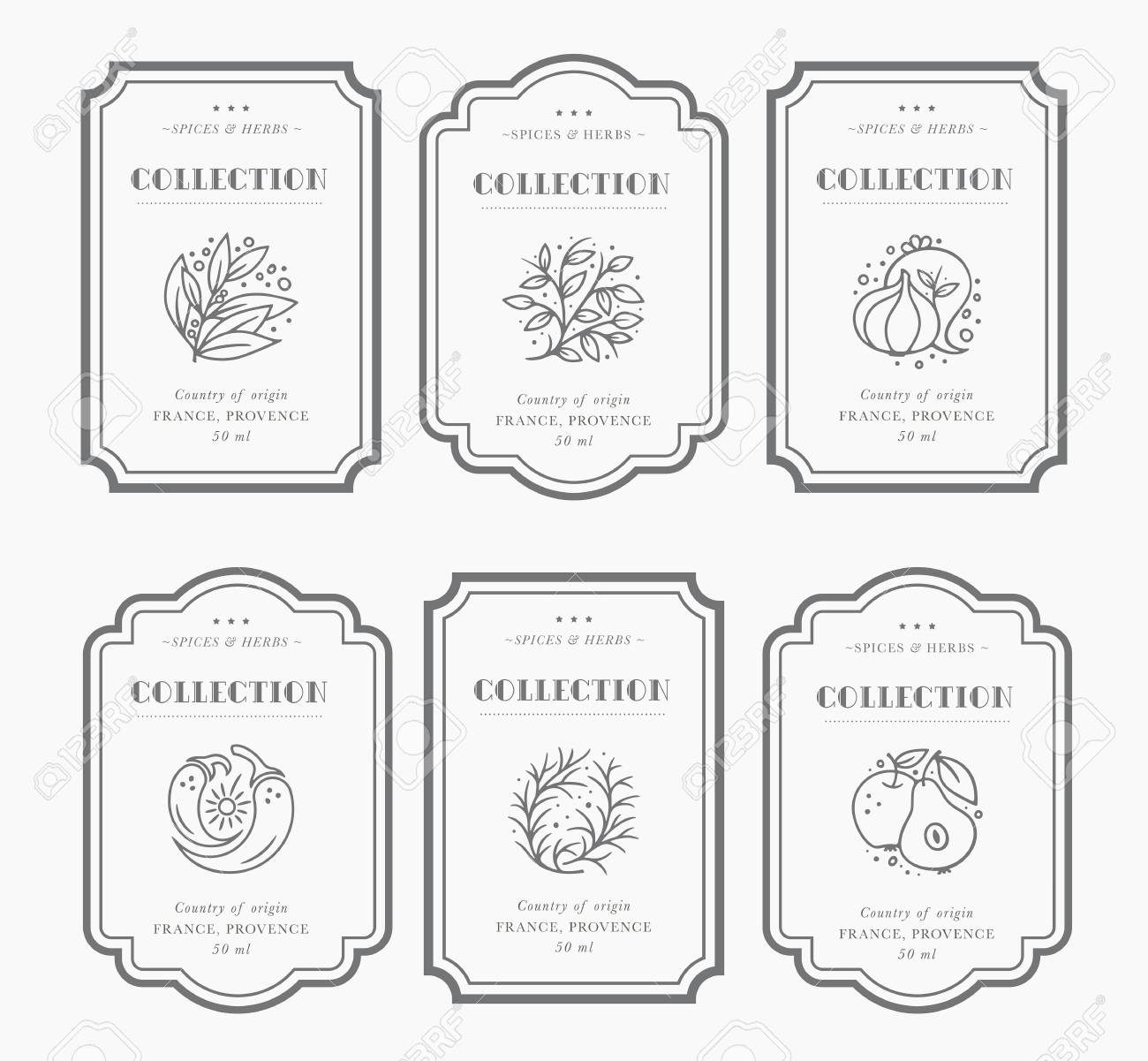 Customizable black and white Pantry label collection. Vintage packaging design templates for Herbs and Spices, dried fruit, vegetables, nuts etc - 111520482