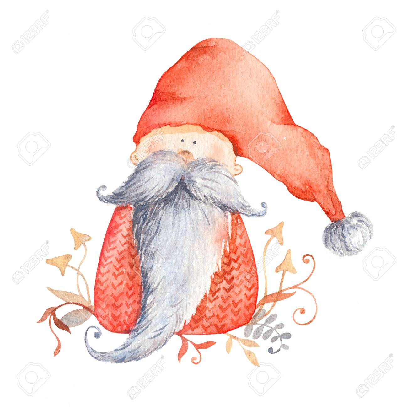 Christmas Gnome Drawing.Stock Illustration