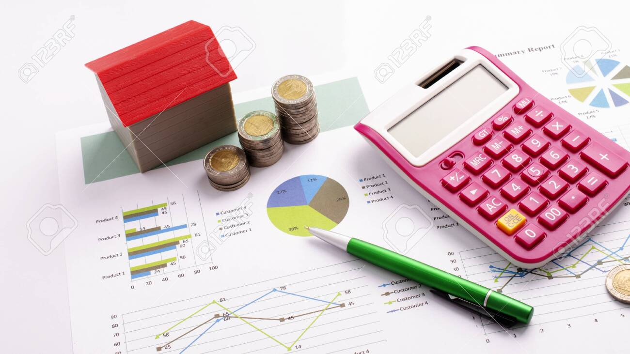 Mortgage loans concept with red house and coin stack, calculator and pen on business report backgrounds - 149155154