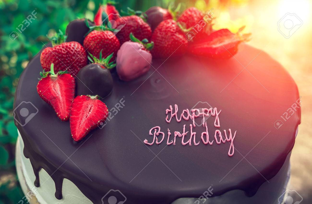 Birthday Cake With Chocolate And Strawberry Sweets Desserts Stock Photo