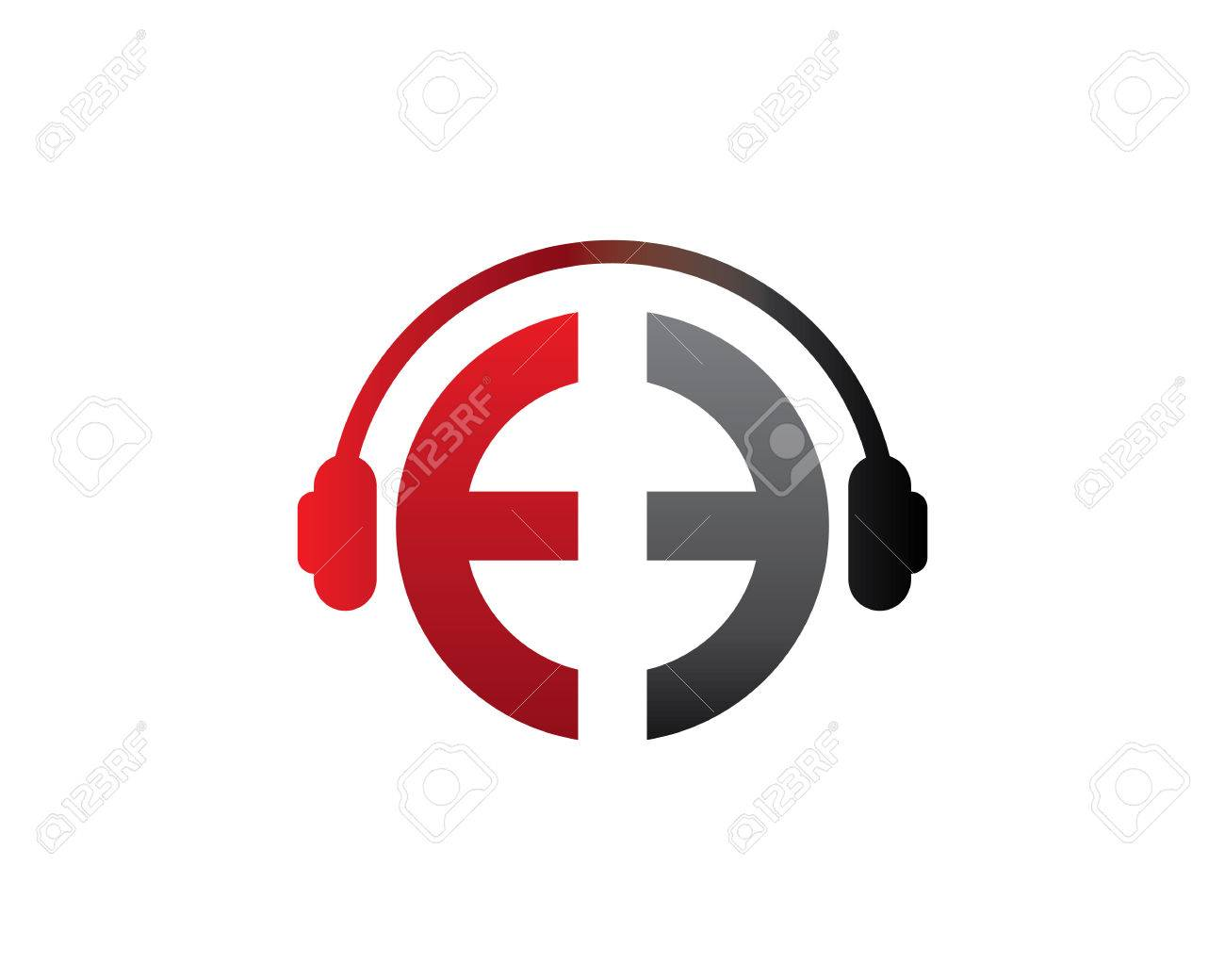 E Letter Dj In Headphone Logo Template Royalty Free Cliparts ...