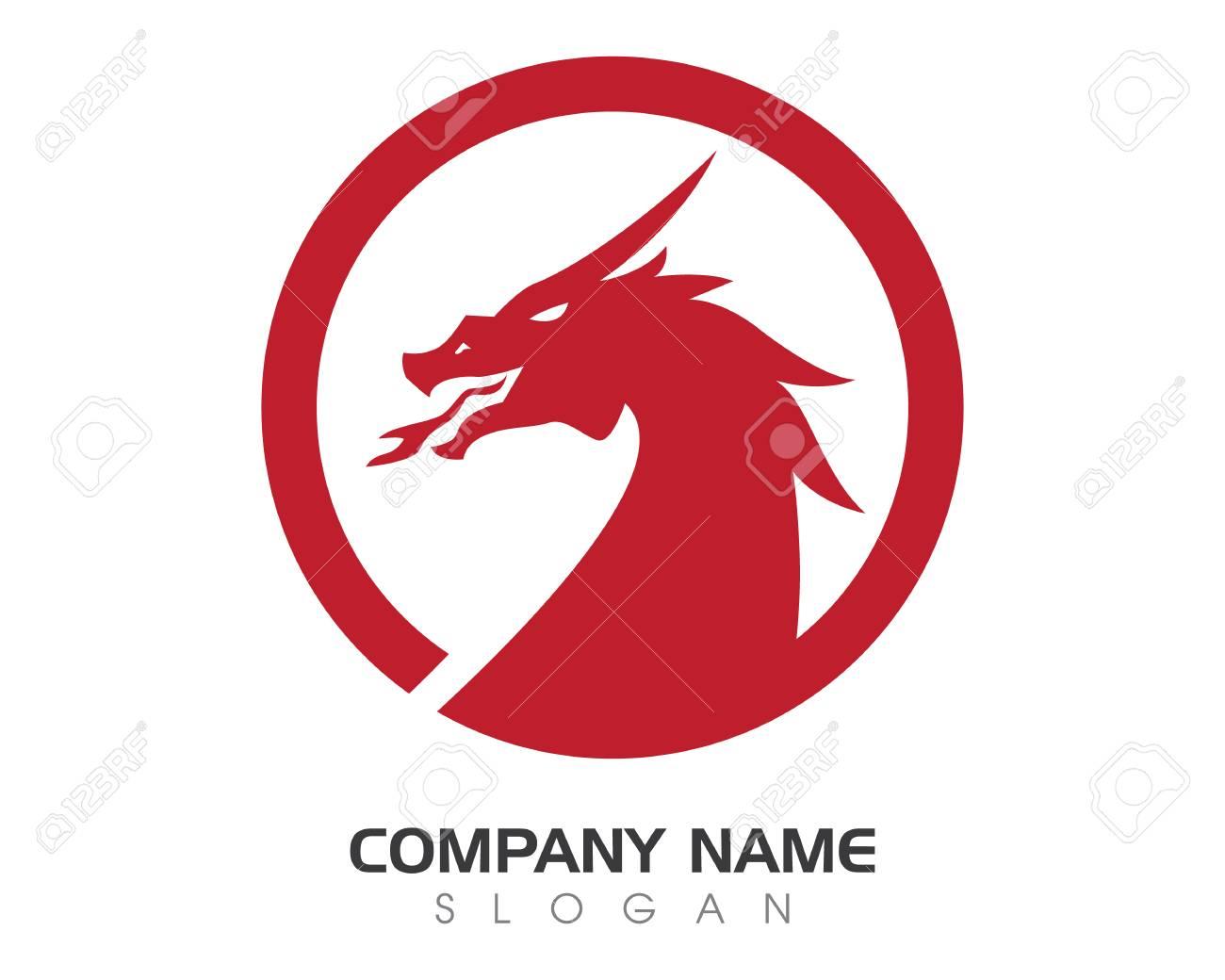 Cabeza Dragón Plana Color Logo Plantilla Ilustración Vectorial ...