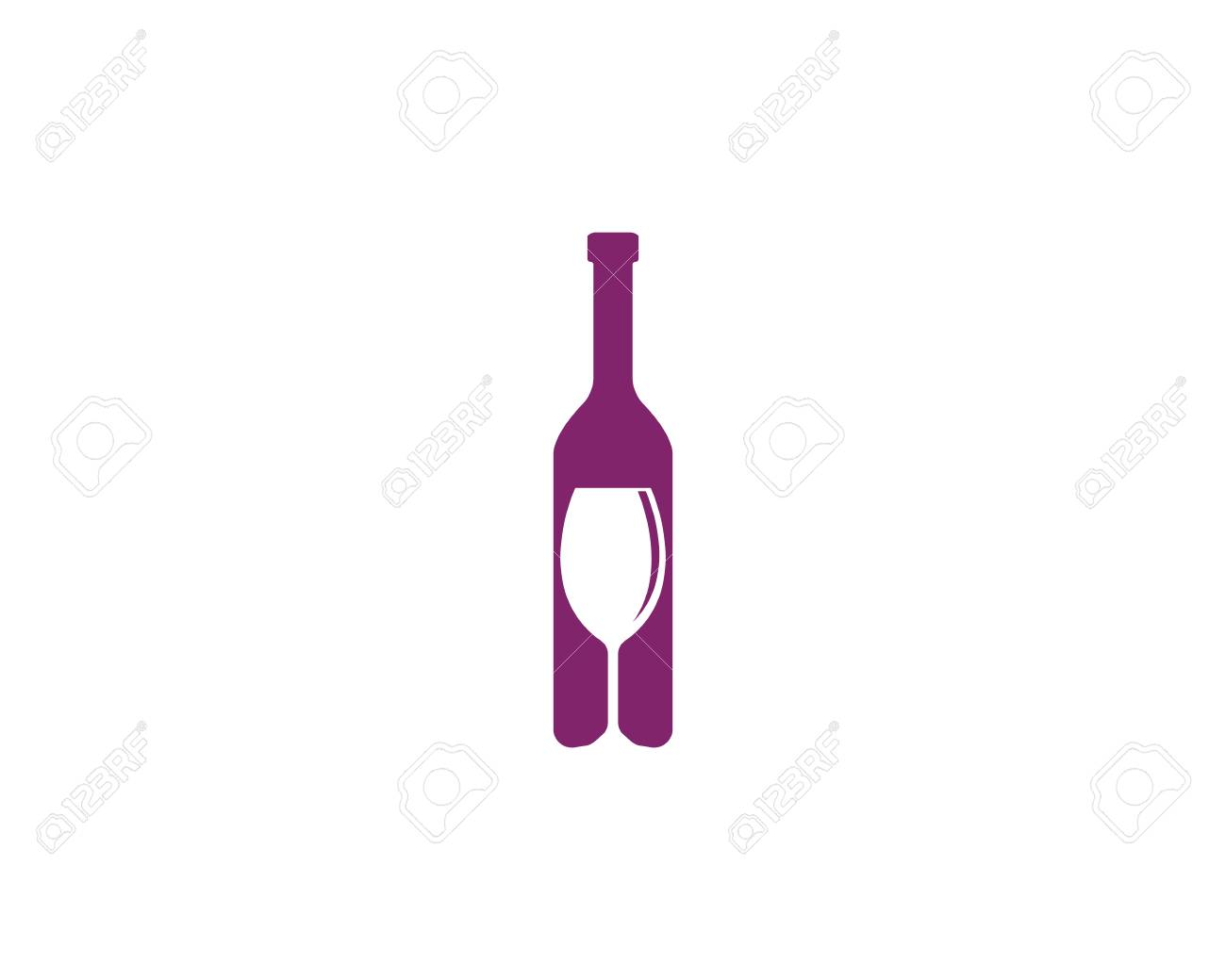 Wine Bottle Template | Wine Bottle And Wine Glass Design For Wine Logo Template Vector