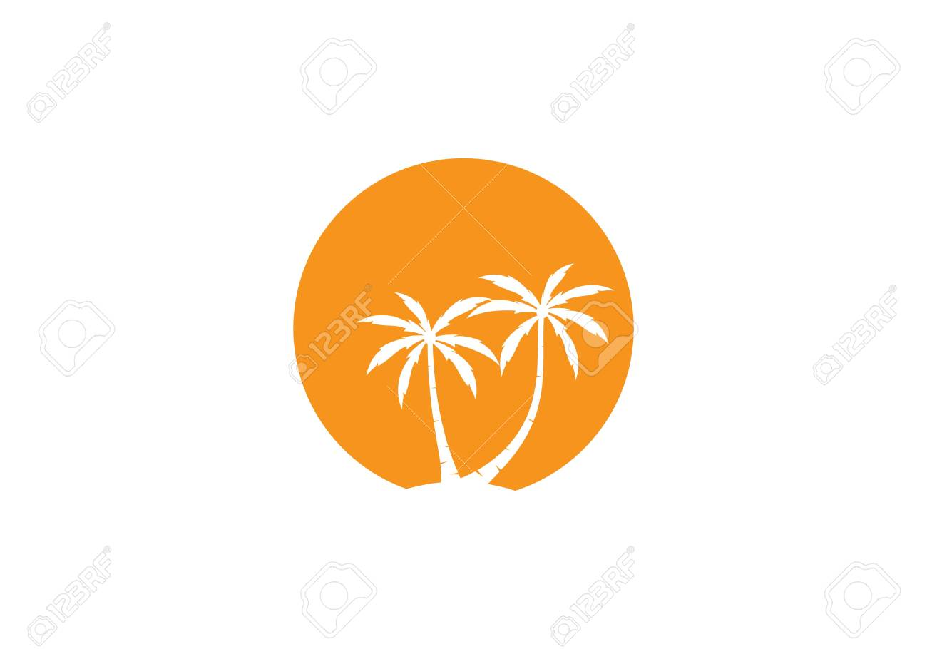 palm tree summer logo template vector illustration royalty free