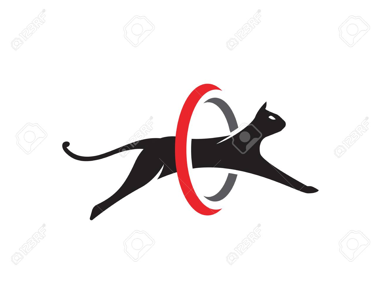 Cat Jumping On Circle Design Vector Illustration Template Royalty